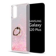 Quicksand Glitter Waterfall Case with 360° Rotating Ring Holder for Samsung Galaxy S20 Plus - Pink