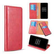 2-IN-1 Luxury Magnetic Leather Wallet Case for Samsung Galaxy S20 Plus - Red