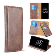 2-IN-1 Luxury Magnetic Leather Wallet Case for Samsung Galaxy S20 - Brown