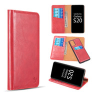 2-IN-1 Luxury Magnetic Leather Wallet Case for Samsung Galaxy S20 - Red