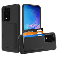 Poket Credit Card Hybrid Armor Case for Samsung Galaxy S20 Ultra - Black