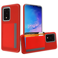 Poket Credit Card Hybrid Armor Case for Samsung Galaxy S20 Ultra - Red