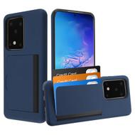Poket Credit Card Hybrid Armor Case for Samsung Galaxy S20 Ultra - Navy Blue
