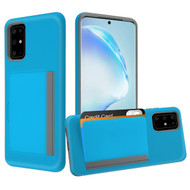 Poket Credit Card Hybrid Armor Case for Samsung Galaxy S20 Plus - Blue