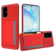 Poket Credit Card Hybrid Armor Case for Samsung Galaxy S20 Plus - Red
