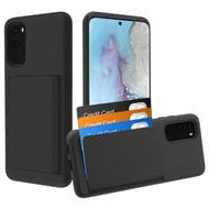 Poket Credit Card Hybrid Armor Case for Samsung Galaxy S20 - Black