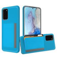Poket Credit Card Hybrid Armor Case for Samsung Galaxy S20 - Blue