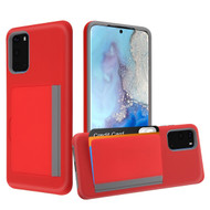 Poket Credit Card Hybrid Armor Case for Samsung Galaxy S20 - Red