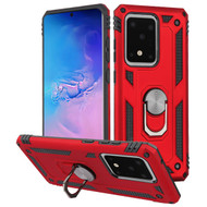 Finger Loop Armor Hybrid Case with 360° Rotating Ring Holder Kickstand for Samsung Galaxy S20 Ultra - Red