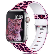 Aluminum Buckle Silicone Band Strap for Apple Watch 44mm / 42mm - Leopard Hot Pink