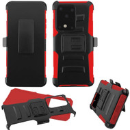 Advanced Armor Hybrid Case with Belt Clip Holster for Samsung Galaxy S20 Ultra - Red