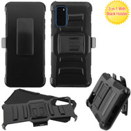 Advanced Armor Hybrid Case with Belt Clip Holster for Samsung Galaxy S20 - Black