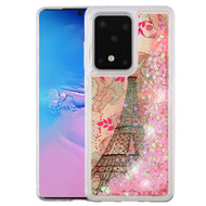 Quicksand Glitter Waterfall Transparent Case for Samsung Galaxy S20 Ultra - Eiffel Tower