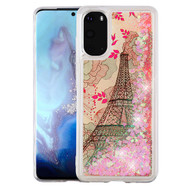 Quicksand Glitter Waterfall Transparent Case for Samsung Galaxy S20 - Eiffel Tower