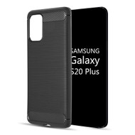 Brushed Metal Design Rugged Armor Case for Samsung Galaxy S20 Plus - Black