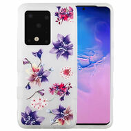 Military Grade Certified TUFF Hybrid Armor Case for Samsung Galaxy S20 Ultra - Frosted Purple Stargazers