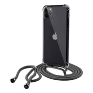 Crystal Clarity Flexible TPU Case with Integrated Black Color Lanyard for iPhone 11 Pro Max