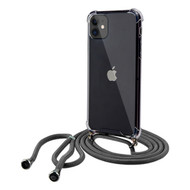 Crystal Clarity Flexible TPU Case with Integrated Black Color Lanyard for iPhone 11