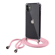 Crystal Clarity Flexible TPU Case with Integrated Pink Color Lanyard for iPhone 11
