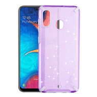 Dazzling Fade-Resistant Glitter Transparent Case for Samsung Galaxy A20 - Purple