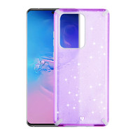 Dazzling Fade-Resistant Glitter Transparent Case for Samsung Galaxy S20 Ultra - Purple