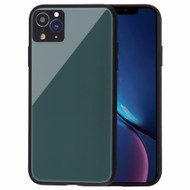 Minimalistic TPU Case with Tempered Glass Backing for iPhone XR - Midnight Green