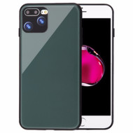 Minimalistic TPU Case with Tempered Glass Backing for iPhone 8 Plus / 7 Plus - Midnight Green
