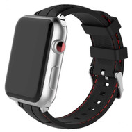 Embossed Crocodile Skin Silicone Band Strap for Apple Watch 44mm / 42mm - Black