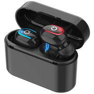 IPX5 Waterproof Noise Cancellation TWS True Wireless Bluetooth V5.0 Headsets with Portable Charging Case - Black