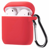Flexcone Silicone Protective Case with Carabiner Clip for Apple AirPods - Red