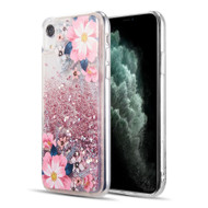 Quicksand Glitter Waterfall Transparent Case for iPhone XR - Floral Bliss