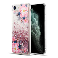 Quicksand Glitter Waterfall Transparent Case for iPhone 8 / 7 / 6S / 6 - Floral Bliss