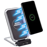 Triple Coil Qi Certified Wireless Fast Charger Stand with 2 USB-A Charging Port