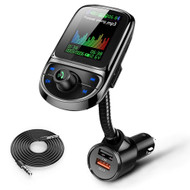 Bluetooth V5.0 FM Transmitter Hands-Free Car Kit with Quick Charge 3.0 USB Charger - Black