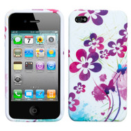 Graphic Rubberized Protective Gel Case and Screen Protector for iPhone 4 / 4S - Artistic Flowers
