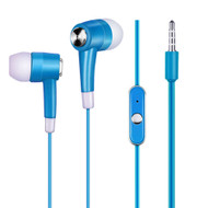 Noise Isolating Stereo Earphones Hands-free Headset with Mic - Sky Blue