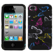 Graphic Fishbone Hybrid Case and Screen Protector for iPhone 4 / 4S - Vivacious Butterfly