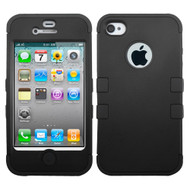 Military Grade Certified TUFF Hybrid Case and Screen Protector for iPhone 4 / 4S - Black