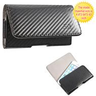 Leather Folio Hip Case for iPhone SE / 5S / 5C / 5 - Carbon Fiber
