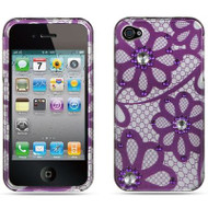 Graphic Rhinestone Case for iPhone 4 / 4S - Purple Lace