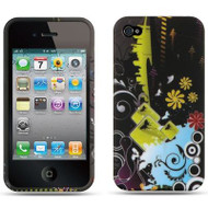 Graphic Rubberized Protective Gel Case for iPhone 4 / 4S - Black Urban