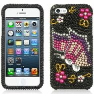 Diamante Rhinestone Case for iPhone 5 / 5S - Rainbow Butterfly