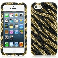 Diamante Rhinestone Case for iPhone SE / 5S / 5 - Zebra Gold