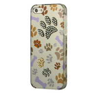 Graphic Rhinestone Case for iPhone SE / 5S / 5 - Bone Bone Paw