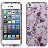 Graphic Rhinestone Case for iPhone SE / 5S / 5 - Lady Butterfly