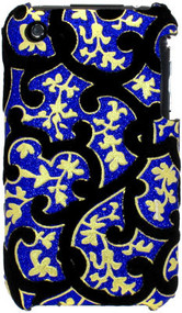 Velvet Series Glitter Back Cover for iPhone 3G / 3GS (Floral/Blue)