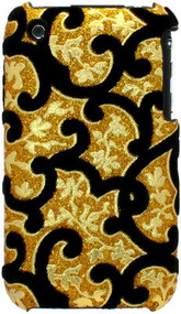 Velvet Series Glitter Back Cover for iPhone 3G / 3GS (Floral/Gold)