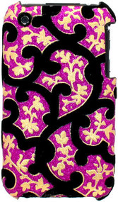 Velvet Series Glitter Back Cover for iPhone 3G / 3GS (Floral/Pink)