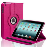 *SALE* Smart Rotary Leather Case for iPad 2, iPad 3 and iPad 4th Generation - Hot Pink