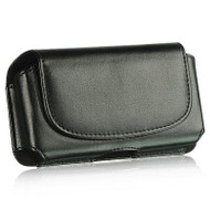 Leather Horizontal Hip Pouch Case - Black